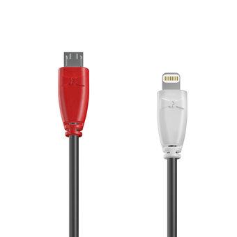Câble OTG (Type Micro vers Lightning) 1m Rouge, Noir et Blanc (marquage image «guitar»)