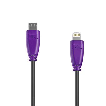 Câble OTG (Type Micro vers Lightning) 1m Violet et Noir (marquage texte «JE SUIS|À PAPA»)