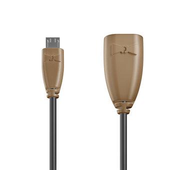 Câble OTG (Type Micro) 1m Beige et Noir (sans marquage)