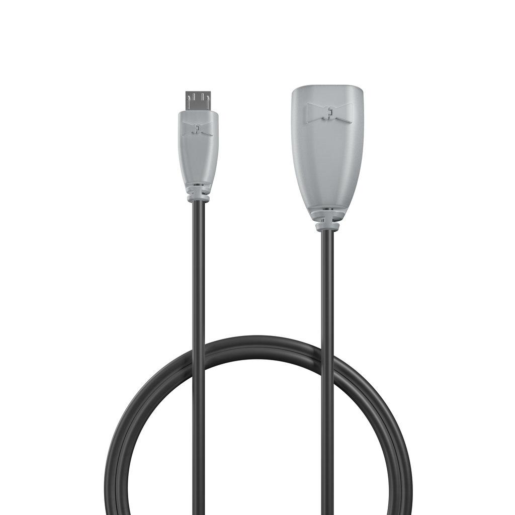 Câble OTG (Type Micro) 30cm Gris et Noir (impr. image «phone» & image «musicnotes») - Vue câble