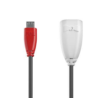 Câble OTG (Type Micro) 1m Rouge, Noir et Blanc (marquage image «guitar»)