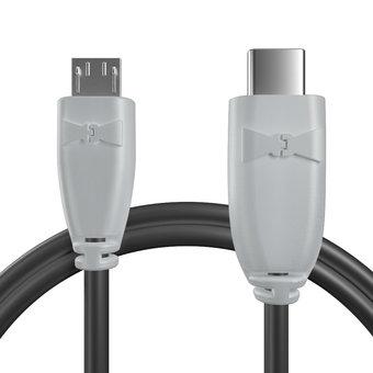 Câble OTG (Type Micro vers C) Gris et Noir - 10cm