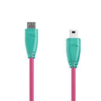 Câble OTG (Type Micro vers Mini) 1m Bluemint et Rose (sans marquage)