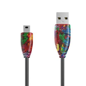 Câble Mini USB 1m Multicouleurs et Noir (sans marquage)