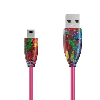 Câble Mini USB 1m Multicouleurs et Rose (sans marquage)