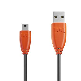 Câble Mini USB 1m Orange et Noir (sans marquage)