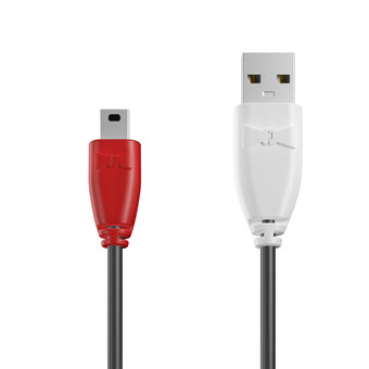 Câble Mini USB 1m Rouge, Noir et Blanc (marquage image «guitar»)