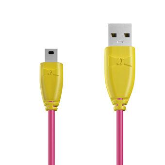 Câble Mini USB 1m Jaune et Rose (sans marquage)