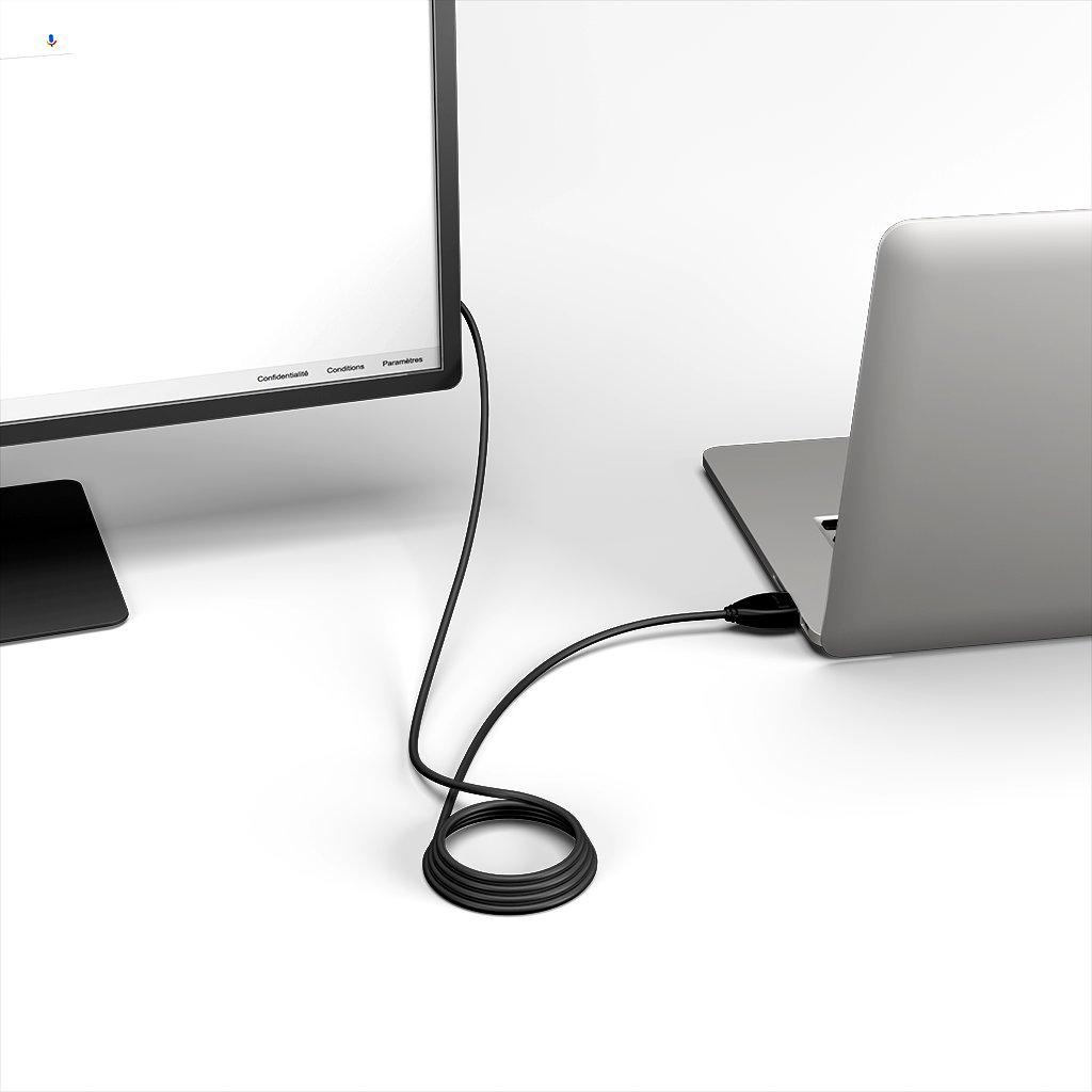 Câble HDMI 2.0 4K 60Hz HDR - 18Gbit/s Premium High Speed - ARC Ethernet - UHD 2160p 1m Noir (sans marquage) - Vue en utilisation