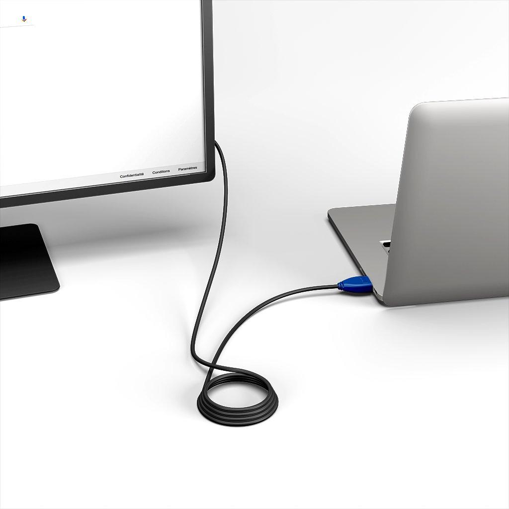 Câble HDMI 4K 60Hz HDR / HDMI 2.0 1m Bleu et Noir () - Vue en utilisation
