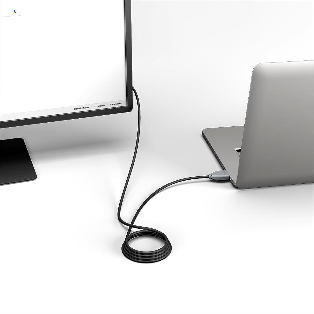 Câble HDMI 2.0 4K 60Hz HDR - 18Gbit/s Premium High Speed - ARC Ethernet - UHD 2160p 1m Gris et Noir (marquages image «headphones» & image «headphones») - Vue en utilisation