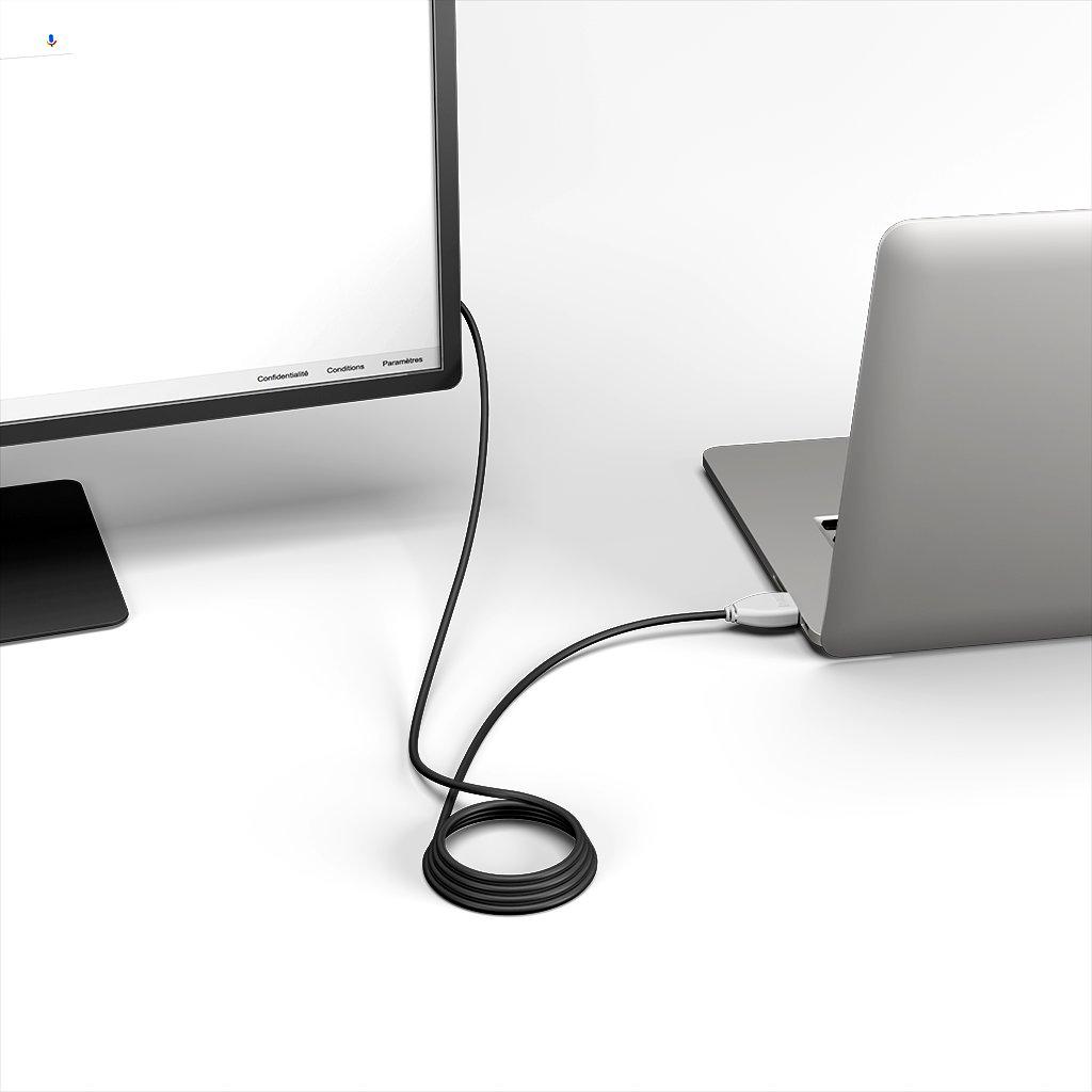Câble HDMI 4K 60Hz HDR / HDMI 2.0 50cm Vert, Noir et Blanc () - Vue en utilisation
