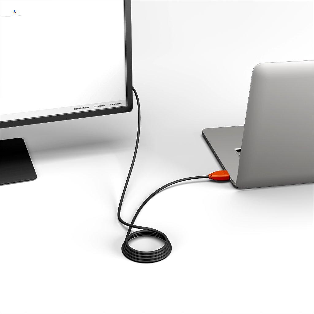 Câble HDMI 4K 60Hz HDR / HDMI 2.0 1m Orange et Noir (impr. image «4khdrultrahd» & image «4khdrultrahd») - Vue en utilisation