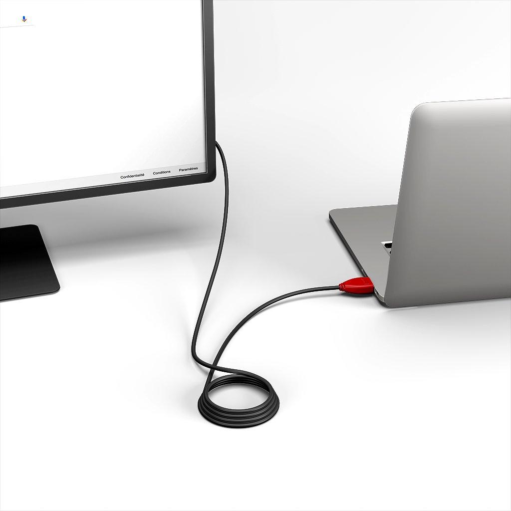 Câble HDMI 2.0 4K 60Hz HDR - 18Gbit/s Premium High Speed - ARC Ethernet - UHD 2160p 2m Rouge et Noir (sans marquage) - Vue en utilisation