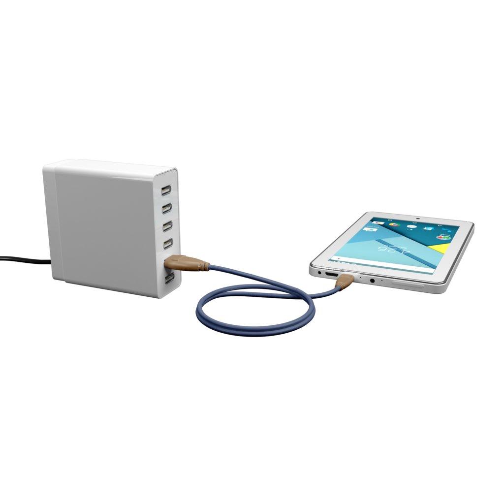 Câble iPhone iPad tressé 1m Beige et Tissu bleu indigo (impr. motif «leatherdark» & motif «leatherdark») - Vue en utilisation