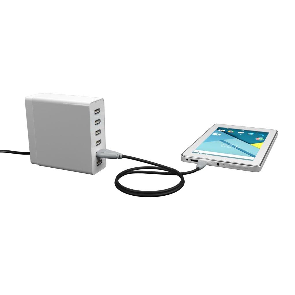 Câble OTG (Type Micro) 30cm Gris et Noir (impr. image «phone» & image «musicnotes») - Vue en utilisation