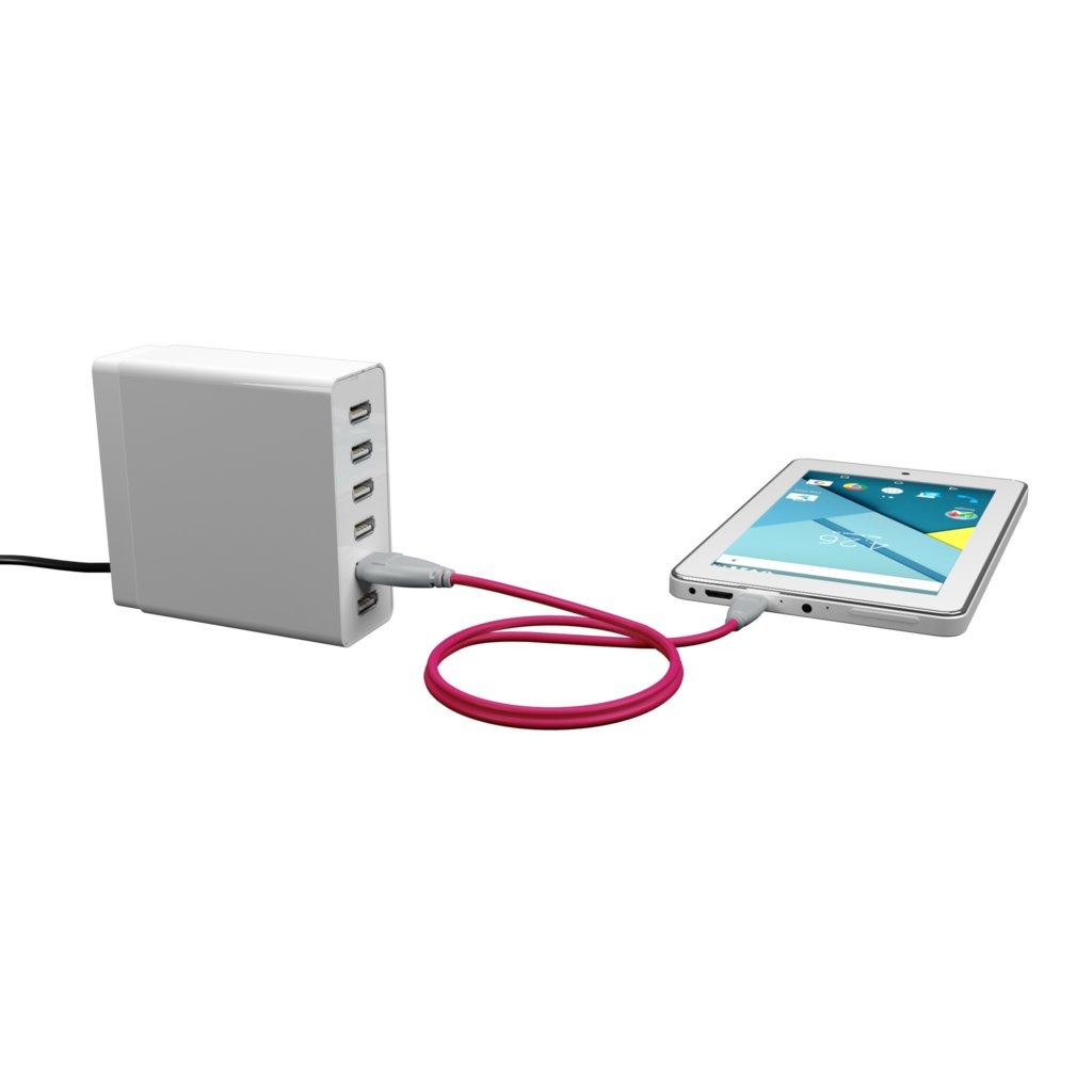 Câble Micro USB 2m Gris et Rose (impr. image «shell» & image «shell») - Vue en utilisation