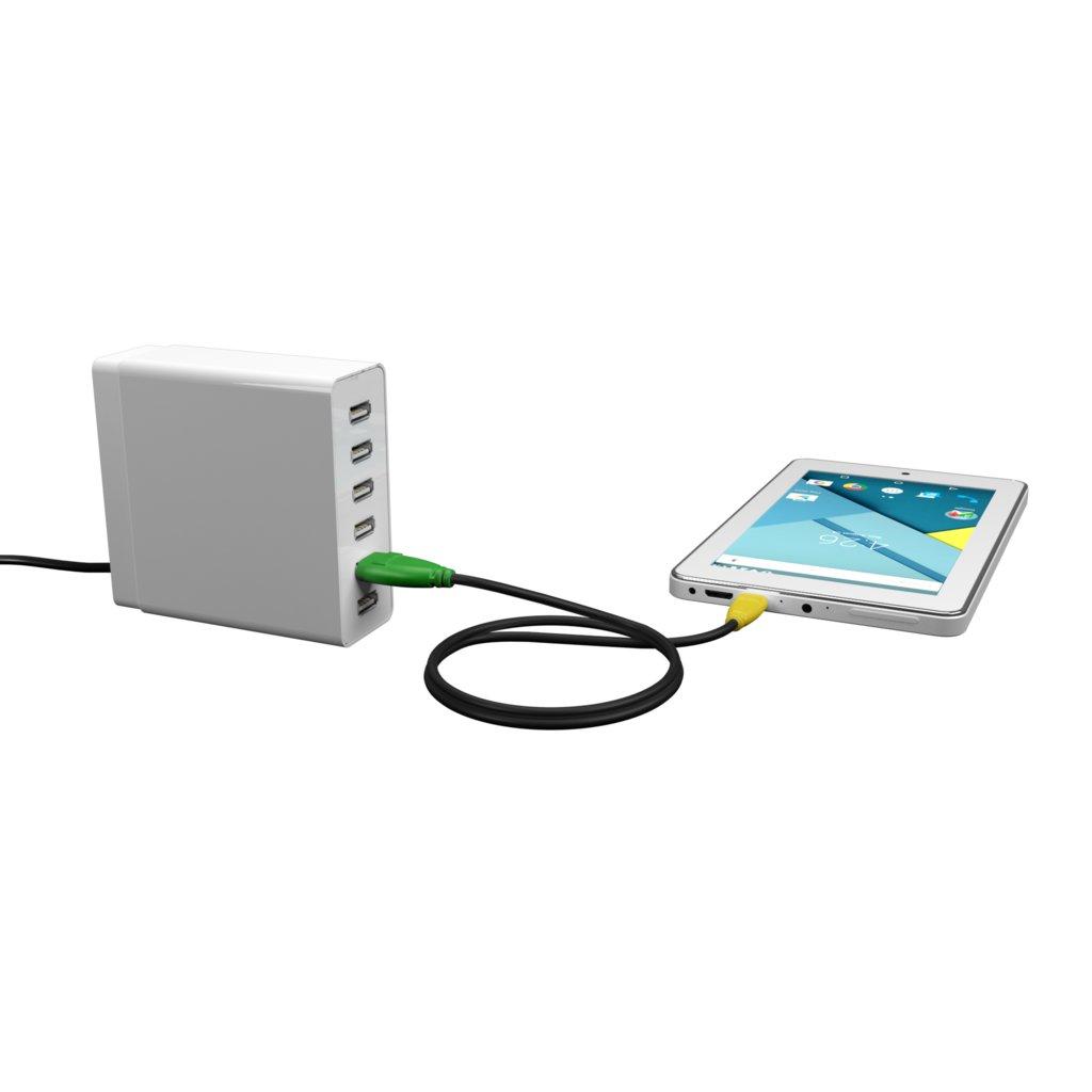 Câble Micro USB 50cm Vert, Noir et Jaune () - Vue en utilisation