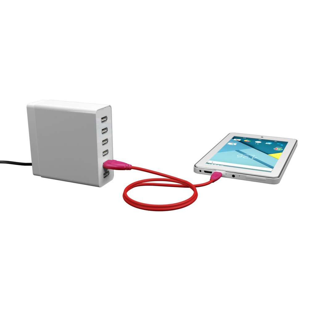 Câble Micro USB tressé 1m Rose et Tissu rouge (impr. image «rose» & image «rose») - Vue en utilisation