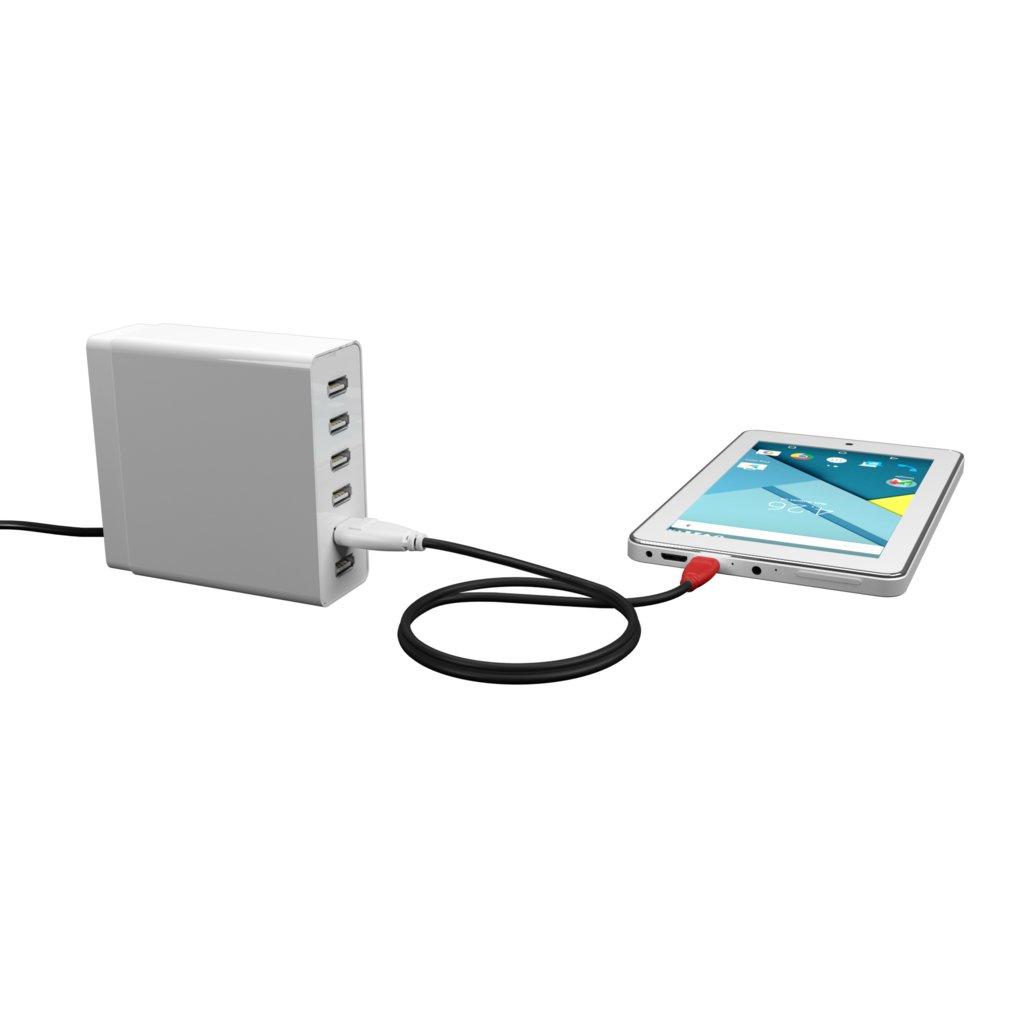 Câble OTG (Type Micro) 10cm Blanc, Noir et Rouge (impr. image «phone») - Vue en utilisation