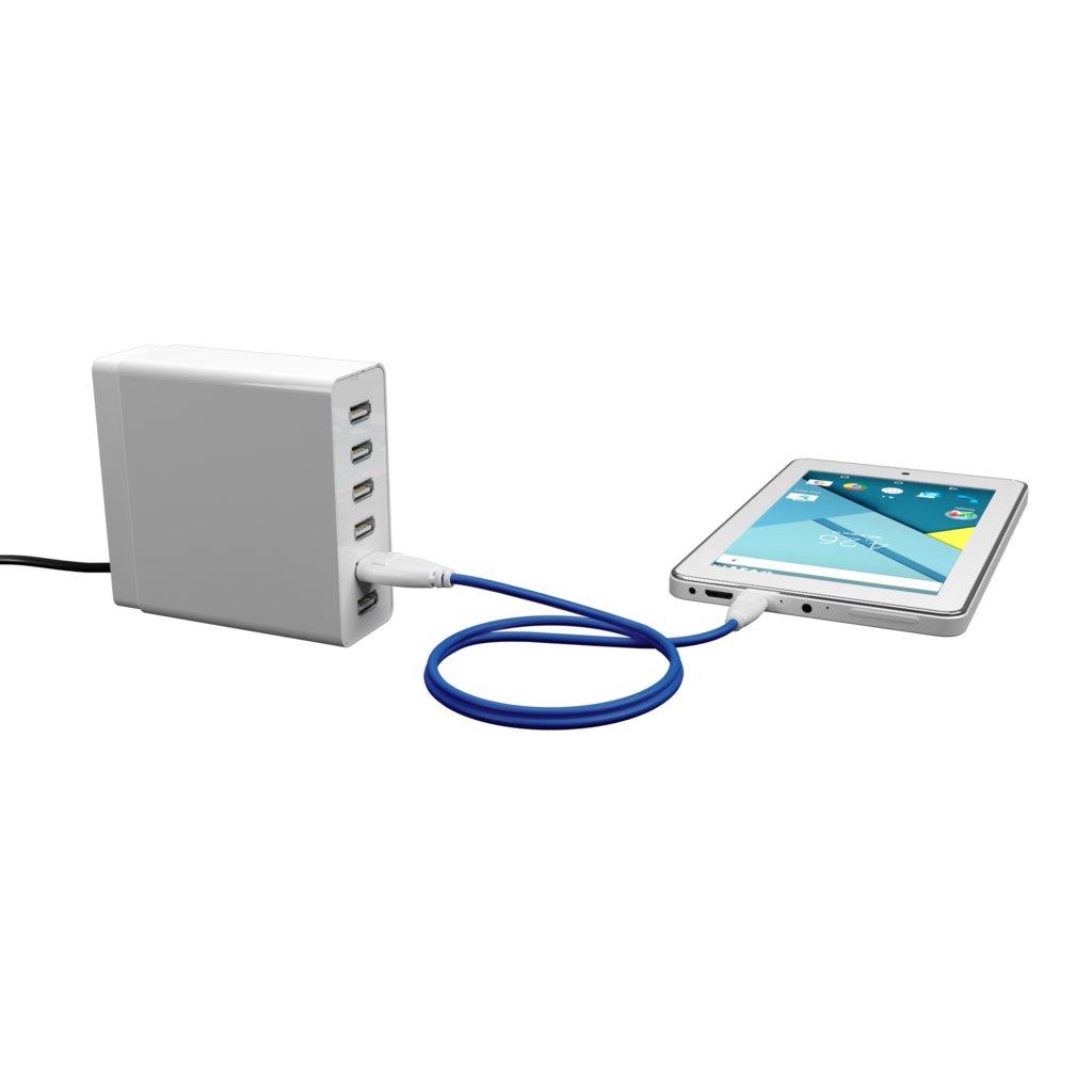 Câble Micro USB 1m Blanc et Bleu (marquage image «moustache») - Vue en utilisation