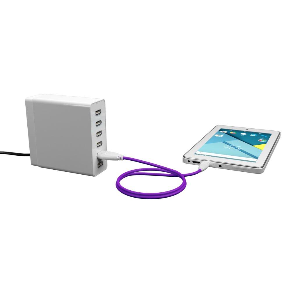 Câble iPhone iPad tressé 1m Blanc et Tissu violet (impr. motif «unicorns» & motif «unicorns») - Vue en utilisation