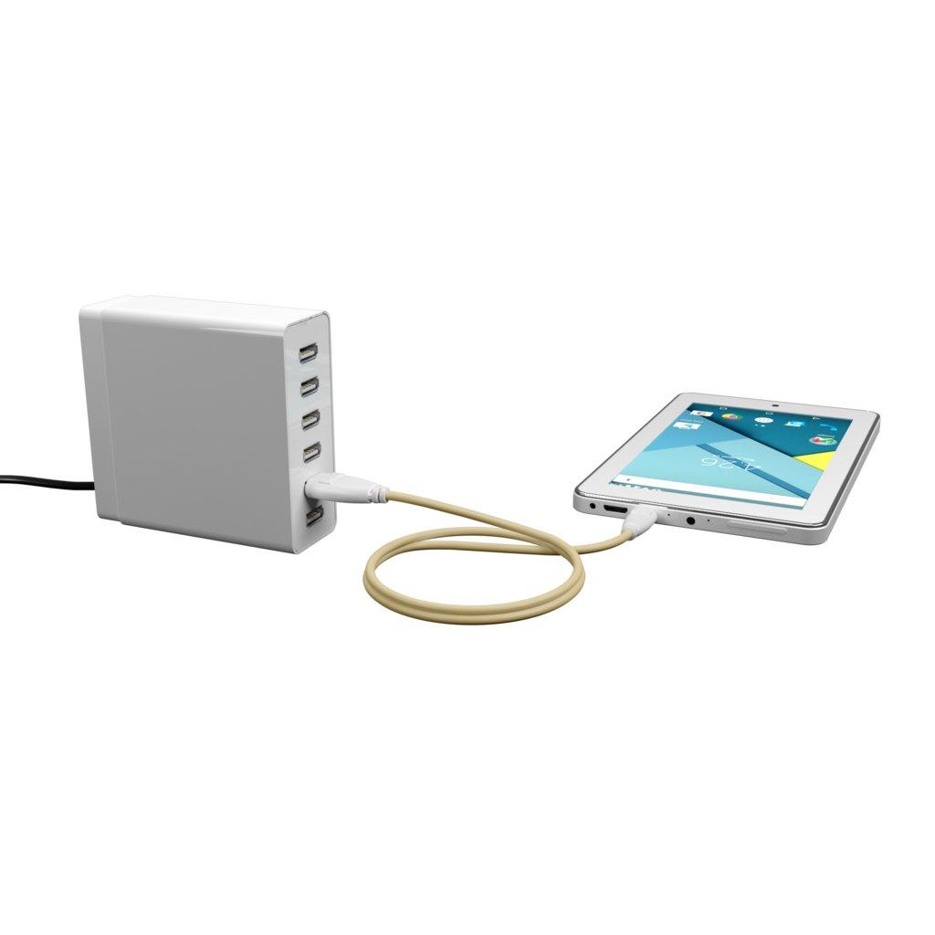 Câble iPhone iPad tressé 1m Blanc et Tissu sable (impr. motif «leatherlight» & motif «leatherlight») - Vue en utilisation