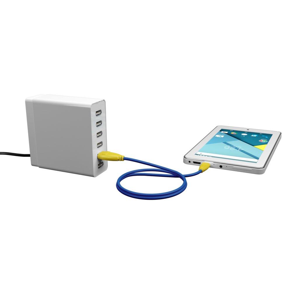 Câble Micro USB 1m Jaune et Bleu (sans marquage) - Vue en utilisation