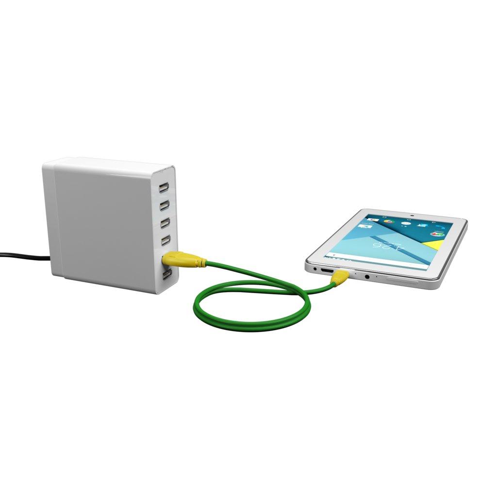 Câble Tissu Micro USB 1m Jaune et Tissu vert (marquages motif «avocado» & motif «avocado») - Vue en utilisation
