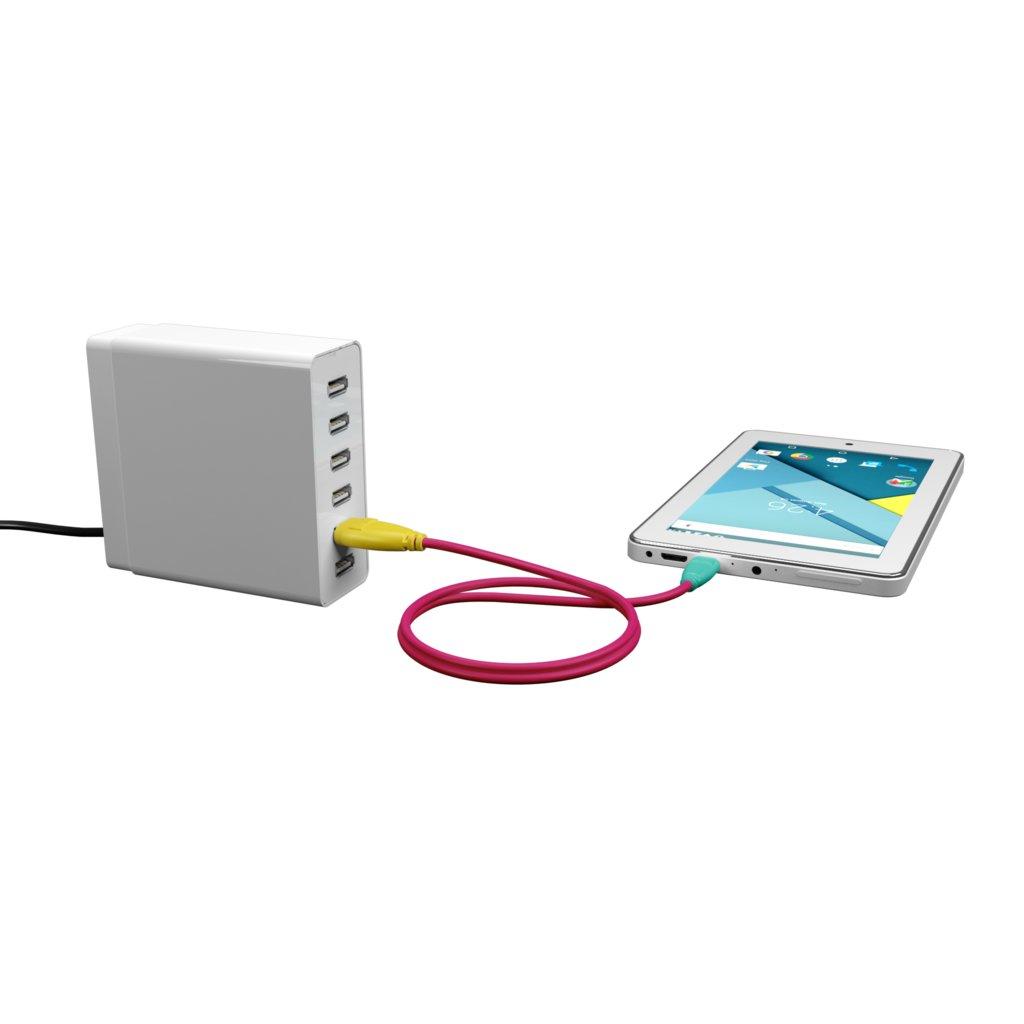 Câble Micro USB 1m Jaune, Rose et Bluemint (marquages motif «dot» & motif «dot») - Vue en utilisation