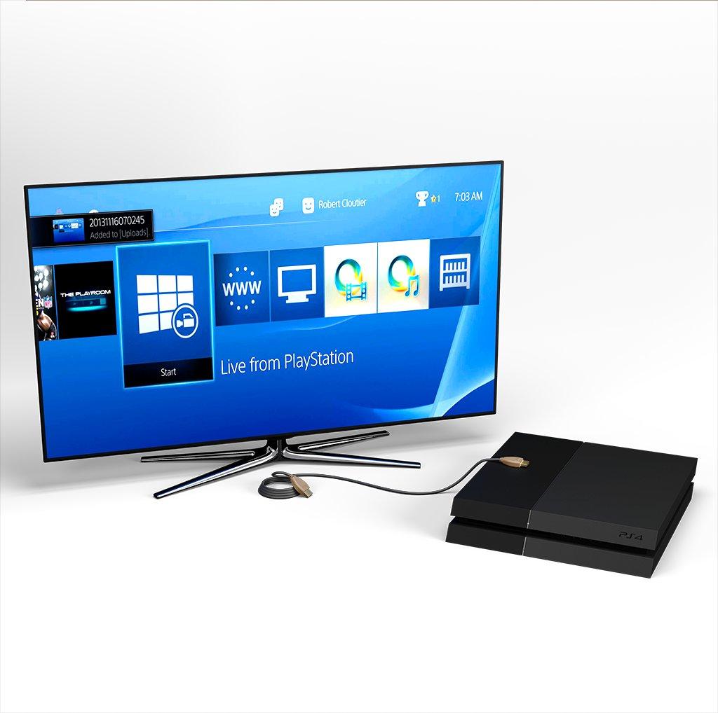 Câble HDMI 4K 60Hz HDR / HDMI 2.0 1m Beige et Noir (impr. motif «wood» & motif «wood») - Vue en utilisation