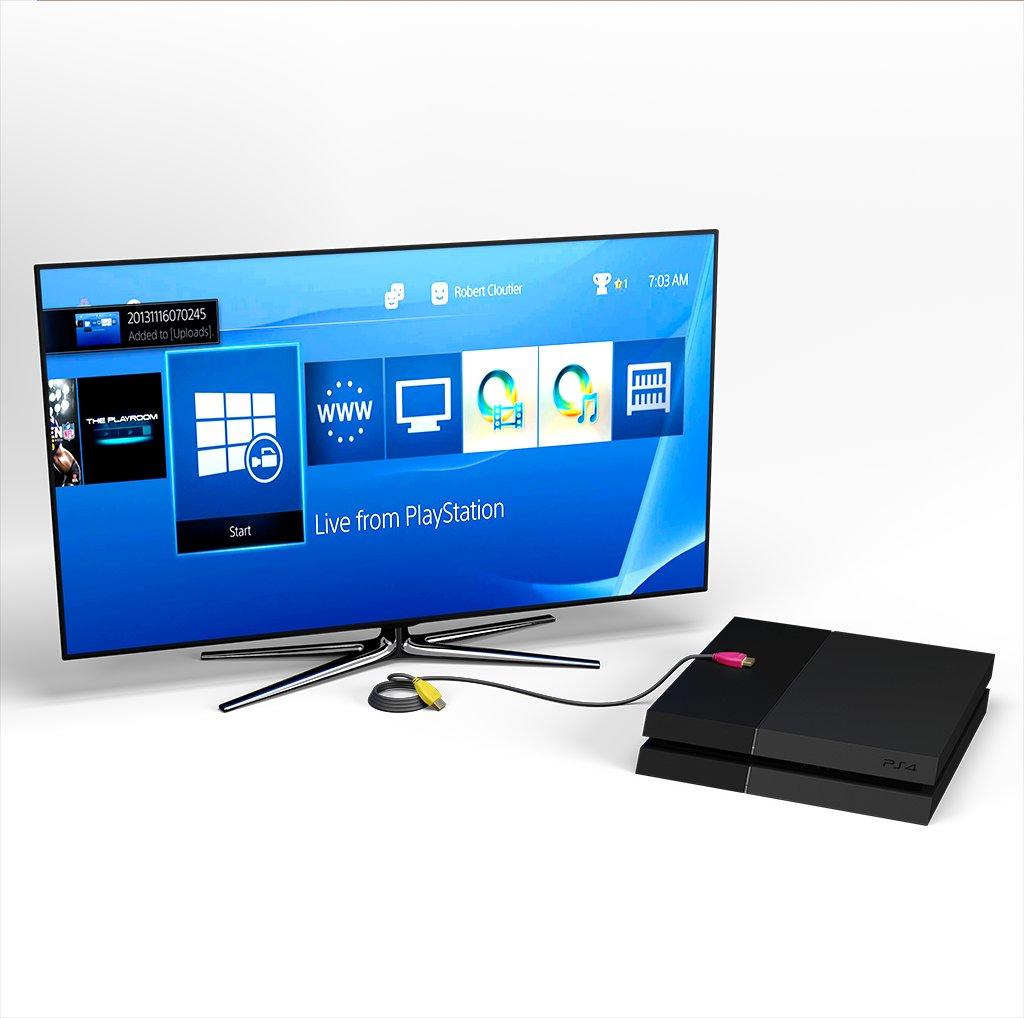 Câble HDMI 2.0 4K 60Hz HDR - 18Gbit/s Premium High Speed - ARC Ethernet - UHD 2160p 1m Jaune, Noir et Rose (marquages motif «banana» & motif «banana») - Vue en utilisation